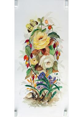 Fanny de Scolari - Rose con Farfalla - 50x25