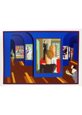 Ugo Nespolo Visita al museo sala blu 35x50 KunstMuseum