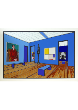 Ugo Nespolo museum visit sala azzurra 35x50 KunstMuseum