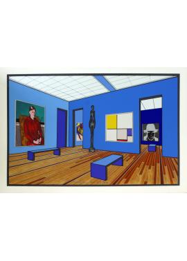 Ugo Nespolo Visita al museo sala azzurra 35x50 KunstMuseum