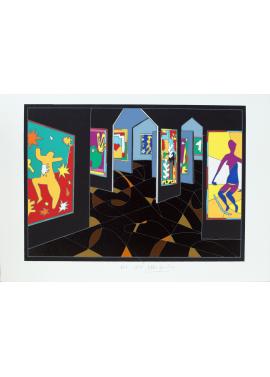 Ugo Nespolo Visita al museo sala nera 35x50 KunstMuseum