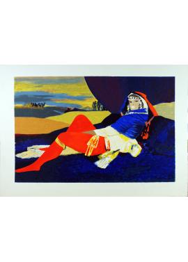 Salvatore Fiume Odalisca in blu 70x100