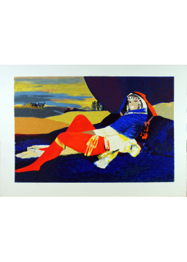 Salvatore Fiume Odalisque in blue 70x100