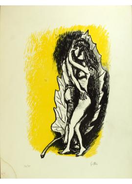 Renato Guttuso - Amanti su fondo giallo 63x47