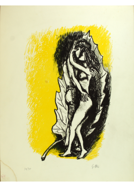 Renato Guttuso-Lovers on a yellow background 63x47